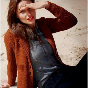 Boden Seed Stitch Cardigan Rust Red Sweater US 10